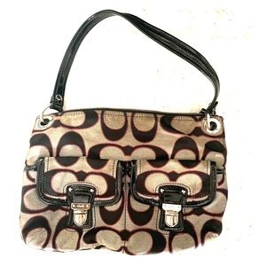Grey, Black, and Pink Coach Purse